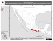 Mapa ilustrativo de Rana sierramadrensis (Rana de la Sierra Madre-Occidental). Área de distribución potencial. La proyección citada, es exclusiva para el diseño de esta imagen.