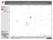 Mapa ilustrativo de Rana tlaloci (Rana de Tláloc). Área de distribución potencial. La proyección citada, es exclusiva para el diseño de esta imagen.