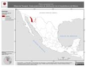 Mapa ilustrativo de Rana yavapaiensis (Rana de Yavapai). Área de distribución potencial. La proyección citada, es exclusiva para el diseño de esta imagen.