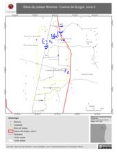 Mapa ilustrativo de Sitios de presas filtrantes. Cuenca de Burgos, zona II