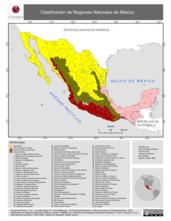 Mapa ilustrativo de Clasificación de Regiones Naturales de México