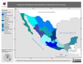Mapa ilustrativo de Regiones Hidrológicas Administrativas (Organismos de Cuencas)