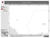 Mapa ilustrativo de Rhadinaea godmani (Culebra café de Godman). Área de distribución potencial. La proyección citada, es exclusiva para el diseño de esta imagen.