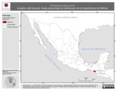 Mapa ilustrativo de Rhadinaea lachrymans (Culebra café llorona). Área de distribución potencial. La proyección citada, es exclusiva para el diseño de esta imagen.