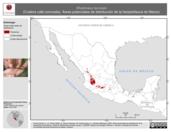 Mapa ilustrativo de Rhadinaea laureata (Culebra café coronada). Área de distribución potencial. La proyección citada, es exclusiva para el diseño de esta imagen.