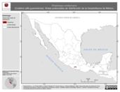 Mapa ilustrativo de Rhadinaea omiltemana (Culebra café guerrerense). Área de distribución potencial. La proyección citada, es exclusiva para el diseño de esta imagen.