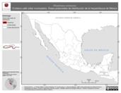 Mapa ilustrativo de Rhadinaea schistosa (Culebra café collar incompleto). Área de distribución potencial. La proyección citada, es exclusiva para el diseño de esta imagen.