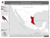 Mapa ilustrativo de Rhodothraupis celaeno (picogordo cuello rojo) residencia permanente. Distribución potencial.