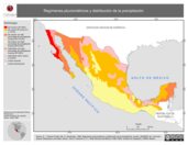 Mapa ilustrativo de Regímenes pluviométricos y Distribución de la precipitación