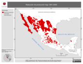 Mapa ilustrativo de Reducción de producción trigo 1991-2006