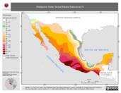 Mapa ilustrativo de Radiación Solar Global Media Estacional IV (Invierno, polígonos)