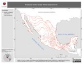 Mapa ilustrativo de Radiación Solar Global Media Estacional III (Otoño, isolíneas)