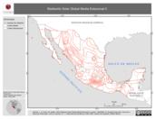 Mapa ilustrativo de Radiación Solar Global Media Estacional II (Verano, isolíneas)