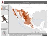 Mapa ilustrativo de Sayornis saya (papamoscas llanero) usando sitios con y sin clima extremo. Distribución Potencial