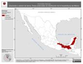 Mapa ilustrativo de Scincella cherriae (Escíncido o eslizón de tierra). Área de distribución potencial. La proyección citada, es exclusiva para el diseño de esta imagen.