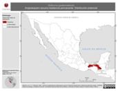 Mapa ilustrativo de Sclerurus guatemalensis (hojarasquero oscuro) residencia permanente. Distribución potencial.
