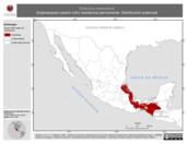 Mapa ilustrativo de Sclerurus mexicanus (hojarasquero pecho rufo) residencia permanente. Distribución potencial.