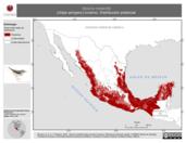 Mapa ilustrativo de Seiurus motacilla (chipe arroyero) invierno. Distribución potencial.