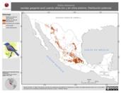 Mapa ilustrativo de Sialia mexicana (azulejo garganta azul) usando sitios con y sin clima extremo. Distribución Potencial