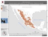 Mapa ilustrativo de Sitta carolinensis (sita pecho blanco) usando sitios con y sin clima extremo. Distribución Potencial