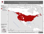 Mapa ilustrativo de Sitta canadensis (sita canadiense) en época de invernación del Hemisferio Norte. Distribución potencial.