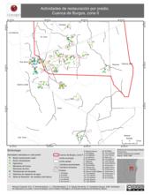 Mapa ilustrativo de Actividades de restauración por predio. Cuenca de Burgos, zona II