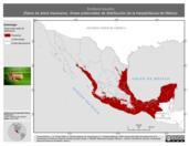 Mapa ilustrativo de Smilisca baudini (Rana de árbol mexicana). Área de distribución potencial. La proyección citada, es exclusiva para el diseño de esta imagen.