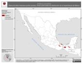 Mapa ilustrativo de Smilisca cyanosticta (Rana de árbol mexicana puntos azules). Área de distribución potencial. La proyección citada, es exclusiva para el diseño de esta imagen.
