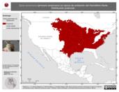 Mapa ilustrativo de Spiza americana (arrocero americano) en época de anidación del Hemisferio Norte. Distribución potencial.