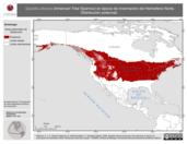 Mapa ilustrativo de Spizella arborea (American Tree Sparrow) en época de invernación del Hemisferio Norte. Distribución potencial.