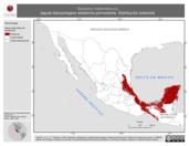 Mapa ilustrativo de Spizastur melanoleucus (águila blanquinegra) residencia permanente. Distribución potencial.