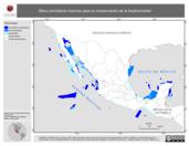 Mapa ilustrativo de Sitios prioritarios marinos para la conservación de la biodiversidad