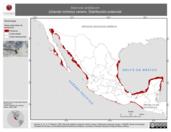 Mapa ilustrativo de Sternula antillarum (charrán mínimo) verano. Distribución potencial.