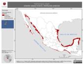 Mapa ilustrativo de Hydroprogne caspia (charrán caspia) invierno. Distribución potencial.