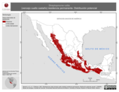 Mapa ilustrativo de Streptoprocne rutila (vencejo cuello castaño) residencia permanente. Distribución potencial.