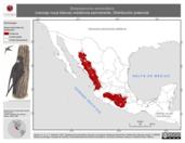 Mapa ilustrativo de Streptoprocne semicollaris (vencejo nuca blanca) residencia permanente. Distribución potencial.