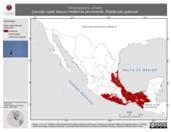 Mapa ilustrativo de Streptoprocne zonaris (vencejo cuello blanco) residencia permanente. Distribución potencial.