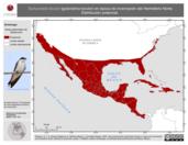 Mapa ilustrativo de Tachycineta bicolor (golondrina bicolor) en época de invernación del Hemisferio Norte. Distribución potencial.