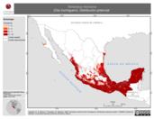 Mapa ilustrativo de Tamandua mexicana (Oso hormiguero). Distribución potencial.