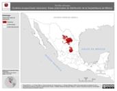 Mapa ilustrativo de Tantilla atriceps (Culebra encapuchada mexicana). Área de distribución potencial. La proyección citada, es exclusiva para el diseño de esta imagen.