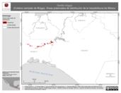 Mapa ilustrativo de Tantilla briggsi (Culebra ciempiés de Briggs). Área de distribución potencial. La proyección citada, es exclusiva para el diseño de esta imagen.