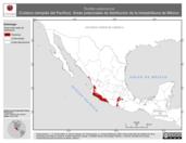 Mapa ilustrativo de Tantilla calamarina (Culebra ciempiés del Pacífico). Área de distribución potencial. La proyección citada, es exclusiva para el diseño de esta imagen.