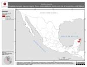 Mapa ilustrativo de Tantilla moesta (Culebra ciempiés vientre negro). Área de distribución potencial. La proyección citada, es exclusiva para el diseño de esta imagen.