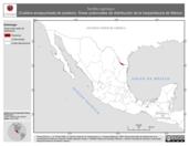 Mapa ilustrativo de Tantilla nigriceps (Culebra encapuchada de pradera). Área de distribución potencial. La proyección citada, es exclusiva para el diseño de esta imagen.