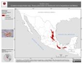 Mapa ilustrativo de Tantilla rubra (Culebra encapuchada roja). Área de distribución potencial. La proyección citada, es exclusiva para el diseño de esta imagen.