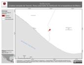 Mapa ilustrativo de Tantilla tayrae (Culebra ciempiés del Tacaná). Área de distribución potencial. La proyección citada, es exclusiva para el diseño de esta imagen.