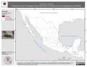Mapa ilustrativo de Terrapene coahuila (Tortuga de Cuatro CIénegas). Área de distribución potencial. La proyección citada, es exclusiva para el diseño de esta imagen.
