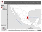 Mapa ilustrativo de Terrapene mexicana (Tortuga de caja mexicana). Área de distribución potencial. La proyección citada, es exclusiva para el diseño de esta imagen.