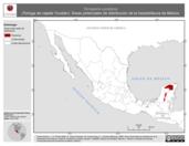 Mapa ilustrativo de Terrapene yucatana (Tortuga de cajade Yucatán). Área de distribución potencial. La proyección citada, es exclusiva para el diseño de esta imagen.