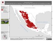 Mapa ilustrativo de Thamnophis eques (Culebra listonada del sur mexicano). Área de distribución potencial. La proyección citada, es exclusiva para el diseño de esta imagen.
